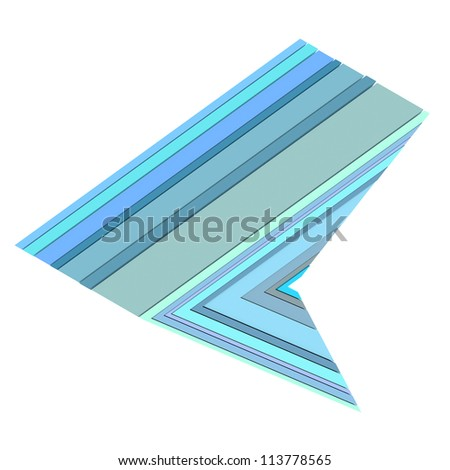 3d sharp triangular abstract shape in blue on white - stock photo