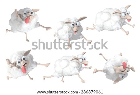 3D Sheep cartoon set of funny, illustration isolated - stock photo