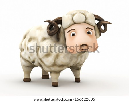 3d sheep isolated - stock photo