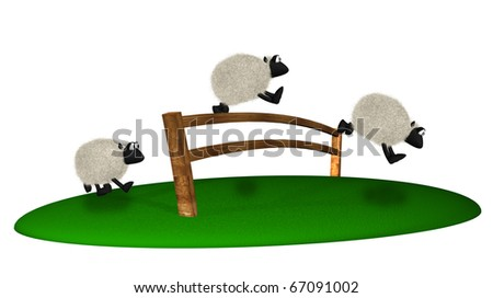 3d sheep jumping over fence. Counting sheep - stock photo