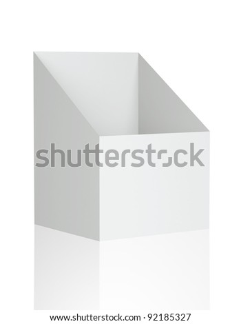 3D Shelf Box Display on a white background. Isolated - stock photo