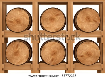 3d shelf with six wooden barrels on white background - stock photo