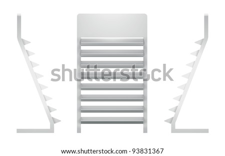 3D shelves and shelf for wrap advertising on a white background. Isolated - stock photo