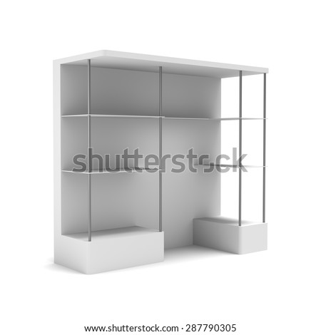 3D shelves and shelf  modern design  on a white background. Isolated - stock photo