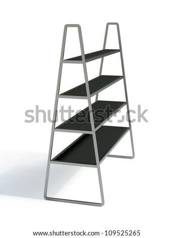 3D shelves and shelf on a white background. Isolated - stock photo