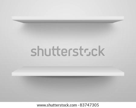 3d shelves white wall - stock photo
