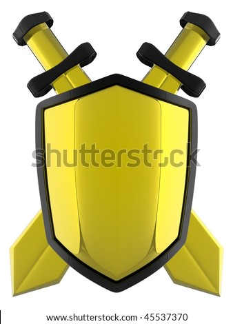 3d Shield with Sword - stock photo