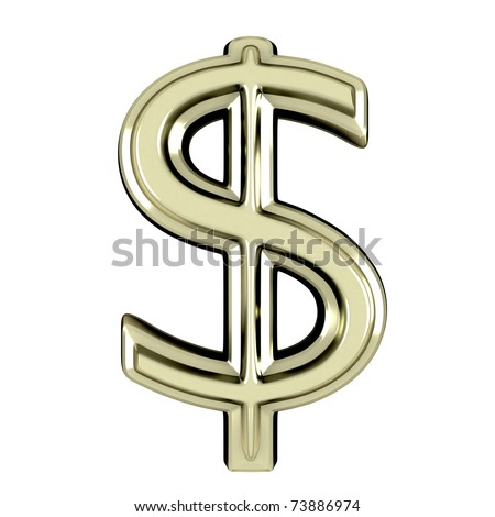 3D shine dollar with clipping path - stock photo