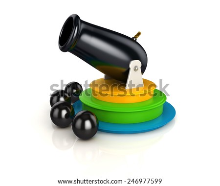 3d shinny and glossy circus cannon and 4 cannon balls - stock photo