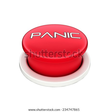 3d shinny and glossy red panic button  - stock photo