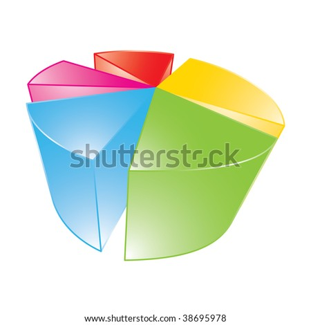 3d shiny big pie chart isolated over white, illustration