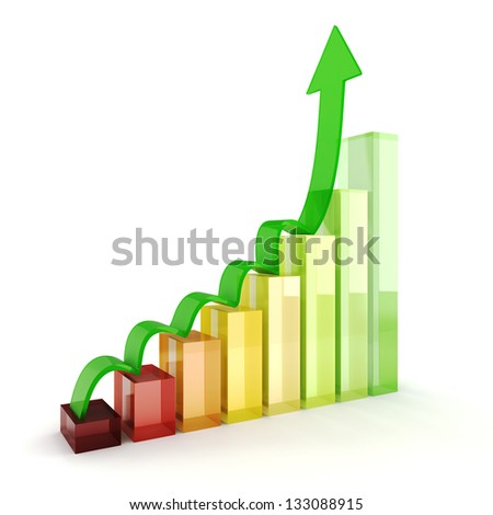 3d shiny colorful business graph on white background - stock photo