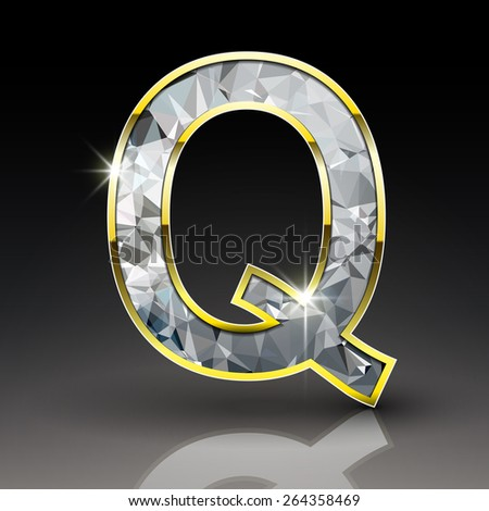 3d shiny diamond letter Q isolated on black background