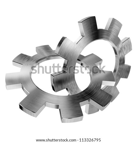 3d shiny gears on white background - stock photo