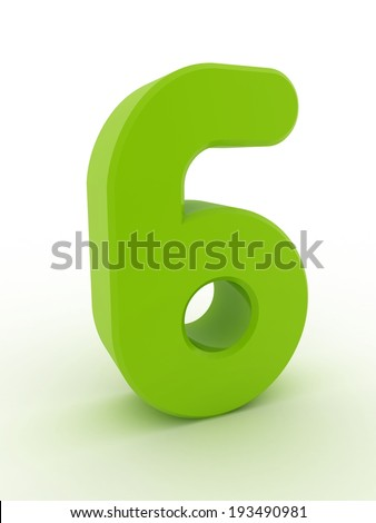 3d shiny green number collection - 6 - stock photo