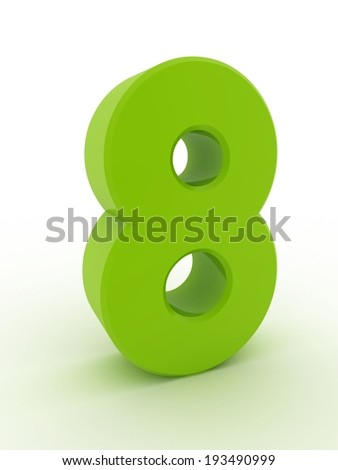 3d shiny green number collection - 8 - stock photo
