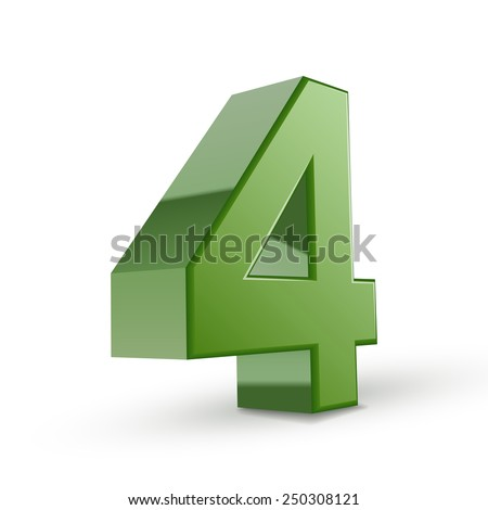 3d shiny green number 4 isolated on white background