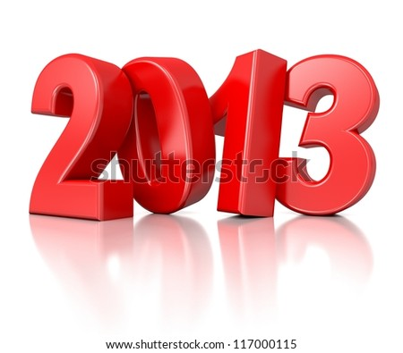 3d shiny new year number 2013 - stock photo