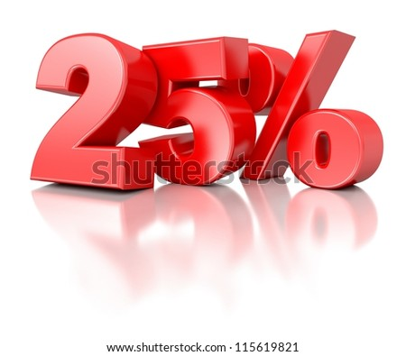 3d shiny red discount collection - 25 percent - stock photo