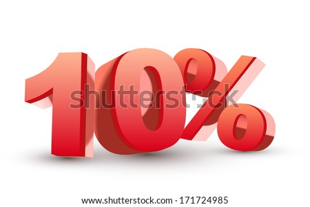 3d shiny red discount collection - 10 percent isolated white background - stock photo