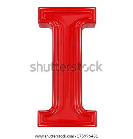 3d shiny red font made of plastic or ceramic - I letter - stock photo