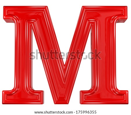 3d shiny red font made of plastic or ceramic - M letter - stock photo