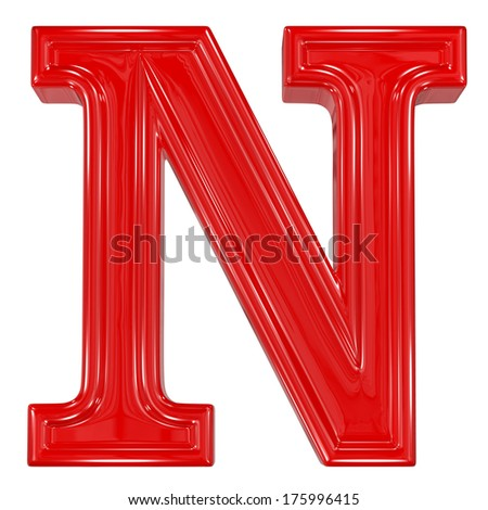 3d shiny red font made of plastic or ceramic - N letter - stock photo