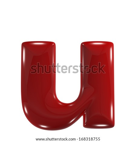 3d shiny red font made of plastic or ceramic - u lovercase letter - stock photo
