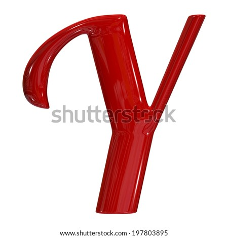 3d shiny red font made of plastic or ceramic - Y letter - stock photo