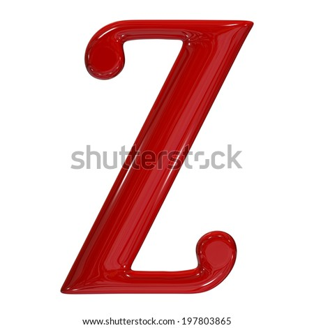 3d shiny red font made of plastic or ceramic - Z letter - stock photo