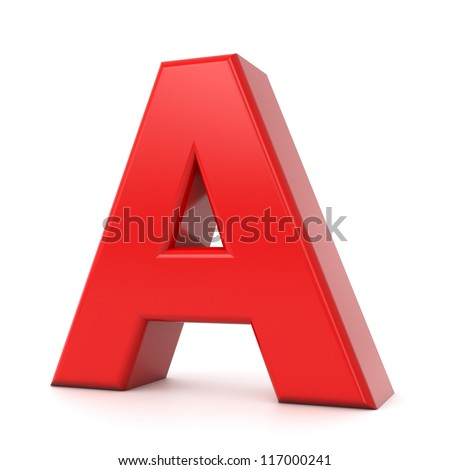 3d shiny red letter collection - A - stock photo
