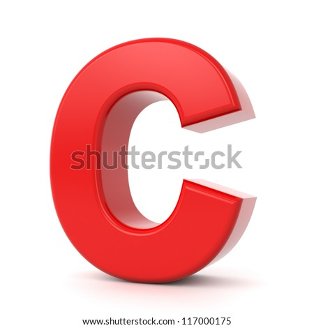 3d shiny red letter collection - C - stock photo