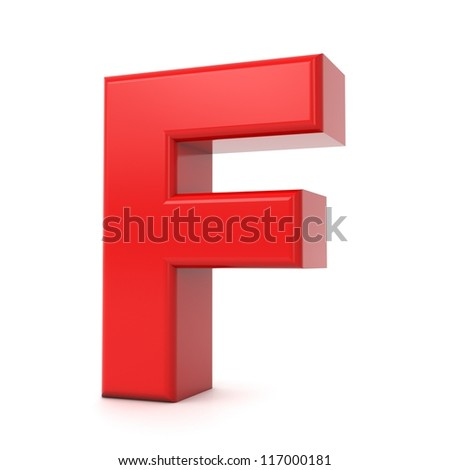 3d shiny red letter collection - F - stock photo
