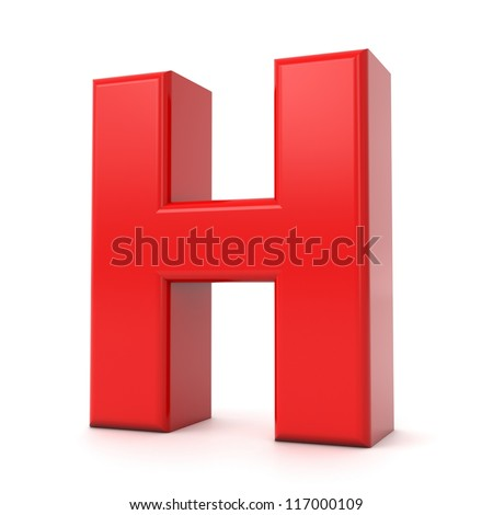 3d shiny red letter collection - H - stock photo