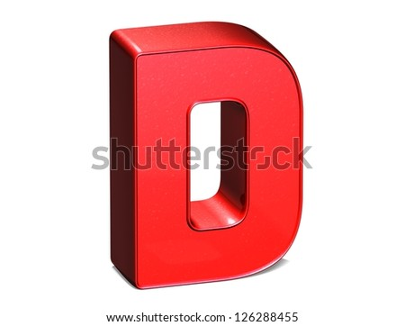 3D shiny red letter collection over white background