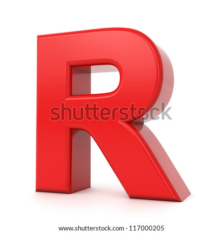3d shiny red letter collection - R - stock photo