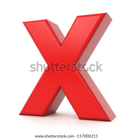 3d shiny red letter collection - X - stock photo