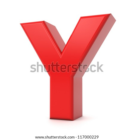 3d shiny red letter collection - Y - stock photo