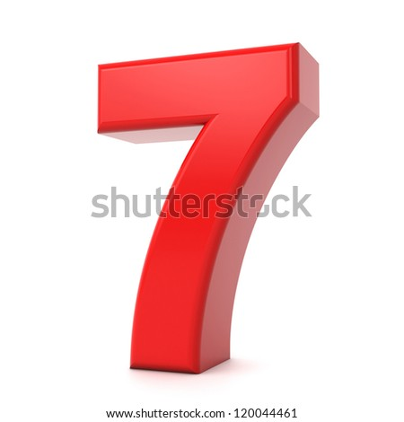 3d shiny red number collection - 7 - stock photo