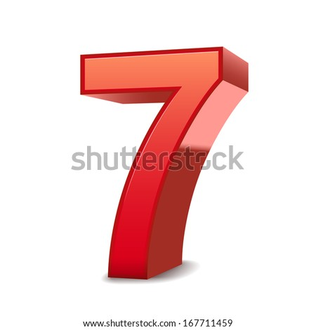 3d shiny red number 7 isolated white background - stock photo