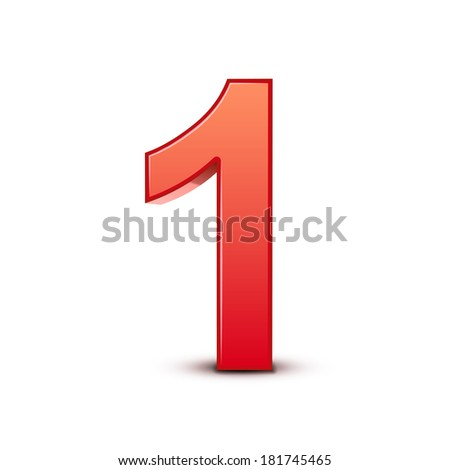 3d shiny red number 1 on white background - stock photo