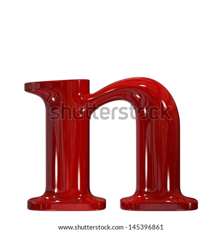 3d shiny red plastic ceramic letter collection - n - stock photo