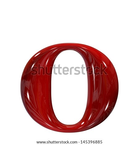 3d shiny red plastic ceramic letter collection - o - stock photo