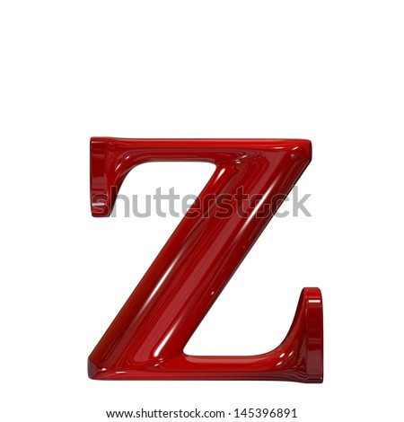 3d shiny red plastic ceramic letter collection - z - stock photo