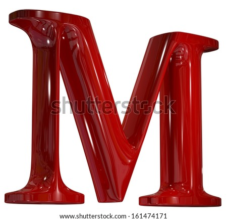 3d shiny red plastic ceramic letter in perspective - M - stock photo