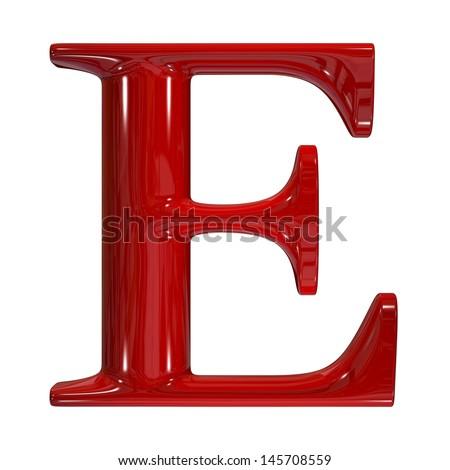 3d shiny red plastic ceramic uppercase letter - E - stock photo