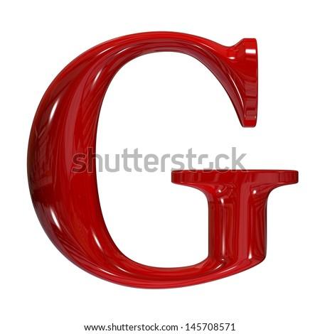 3d shiny red plastic ceramic uppercase letter - G - stock photo
