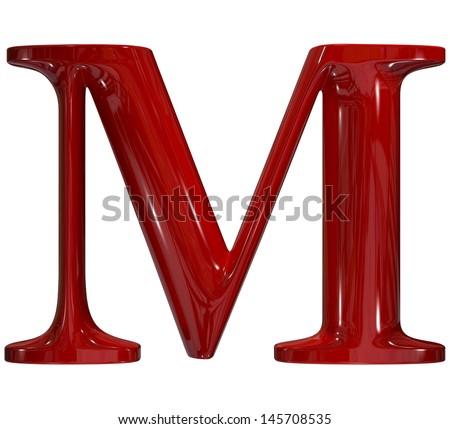 3d shiny red plastic ceramic uppercase letter - M - stock photo