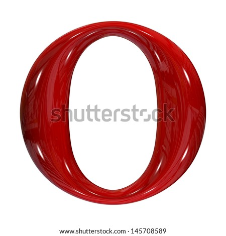 3d shiny red plastic ceramic uppercase letter - O - stock photo