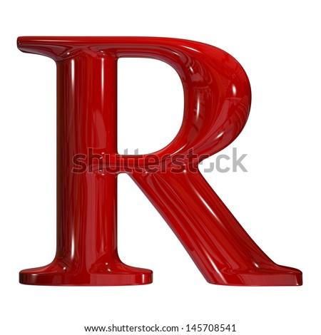 3d shiny red plastic ceramic uppercase letter r stock photo